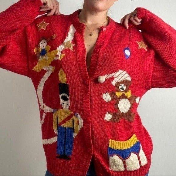 VINTAGE Grandma Holiday Cardigan Knit Pockets L